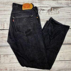 LEVI'S 501 Stonewashed Black Jeans 36X32